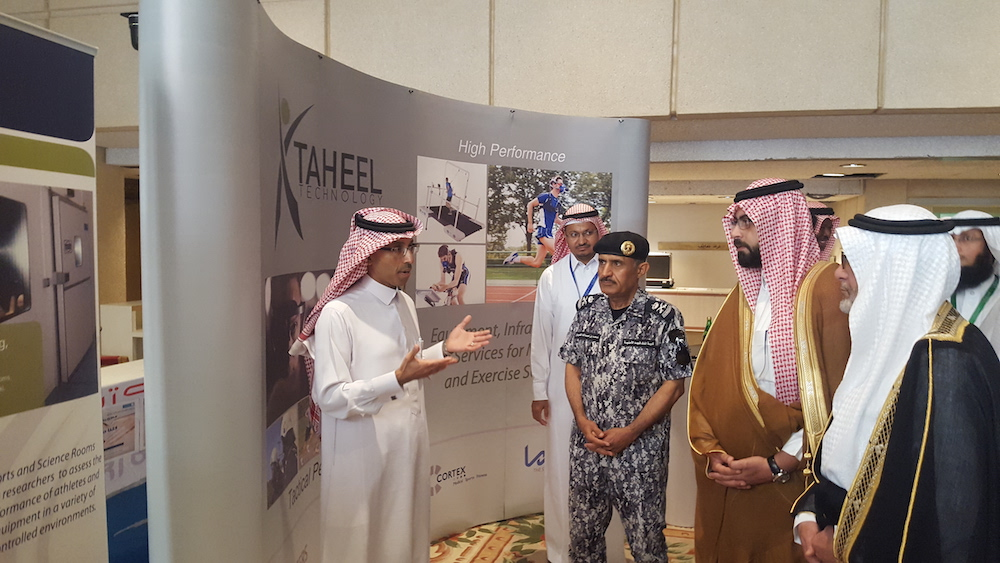 Taheel's CEO welcoming the Leader of the King Fahd Security College, HRH Emir Khalid bin Bandar bin Mosaad, and Prof Yousif Asiri (Vice Rector of King Saud University).